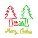 Christmas Greeting Card, Merry Christmas, christmas tree and gift illustration Royalty Free Stock Photo