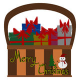 Christmas Greeting Card, Merry Christmas, Gift box in basket Royalty Free Stock Image