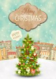 Christmas Greeting Card. Merry Christmas Greeting Card - Beautifully Decorated Christmas Tree in the Winter Small Town. Vector Illustration Royalty Free Stock Image