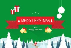 Christmas greeting card with merry christmas and Royalty Free Stock Photo