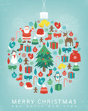 Christmas greeting card with merry christmas and happy new year wishes. Christmas design elements. Vector. Illustration Royalty Free Stock Image