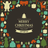 Christmas greeting card with merry christmas and happy new year wishes. Christmas design elements. Vector. Illustration Royalty Free Stock Images