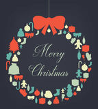 Christmas greeting card with merry christmas and happy new year wishes. Christmas design elements. Vector. Illustration Stock Photo