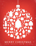 Christmas greeting card with merry christmas and happy new year wishes. Christmas design elements. Vector. Illustration Stock Images