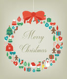 Christmas greeting card with merry christmas and happy new year wishes. Christmas design elements. Vector. Illustration Royalty Free Stock Photo
