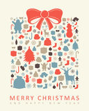 Christmas greeting card with merry christmas and happy new year wishes. Christmas design elements. Vector. Illustration Royalty Free Stock Photography
