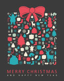 Christmas greeting card with merry christmas and happy new year wishes. Christmas design elements. Vector. Illustration Royalty Free Stock Photos