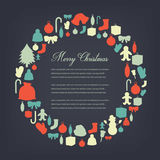 Christmas greeting card with merry christmas and happy new year wishes. Christmas design elements. Vector. Illustration Stock Photography