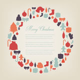 Christmas greeting card with merry christmas and happy new year wishes. Christmas design elements. Vector. Illustration Stock Image
