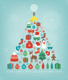 Christmas greeting card with merry christmas and happy new year wishes. Christmas design elements. Vector Stock Image