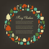 Christmas greeting card with merry christmas and happy new year wishes. Christmas design elements. Vector Stock Images