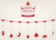Christmas greeting card with merry christmas and happy new year wishes.. Christmas design elements. Vector illustration Royalty Free Stock Photos