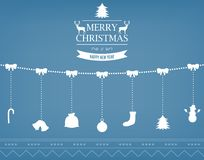 Christmas greeting card with merry christmas and happy new year wishes.. Christmas design elements. Vector illustration Royalty Free Stock Photography