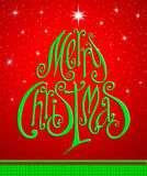Christmas Greeting Card. Merry Christmas lettering like christmas tree. stock image