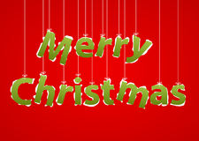 Christmas Greeting Card. Merry Christmas lettering on threads. Royalty Free Stock Photo