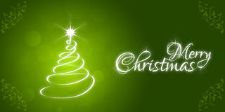 Christmas Greeting Card. Merry Christmas lettering. With Christmas Tree Royalty Free Stock Photo