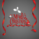 Christmas Greeting Card. Merry Christmas lettering, vector illus Royalty Free Stock Photography
