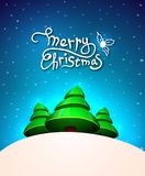 Christmas greeting card, merry christmas lettering Stock Images
