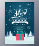 Christmas Greeting Card with  Merry Christmas lettering Stock Photo