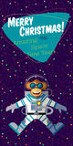 Christmas greeting card: Merry Christmas and New Year. Christmas greeting card: Merry Christmas and amazing space New Year. Monkey astronaut in outer space in Stock Images