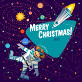 Christmas greeting card: Merry Christmas and New Year. Christmas greeting card: Merry Christmas and amazing space New Year. Monkey astronaut in outer space in Stock Photography