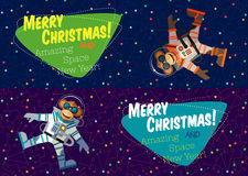 Christmas greeting card: Merry Christmas and New Year. Christmas greeting card: Merry Christmas and amazing space New Year. Monkey astronaut in outer space in Stock Photos