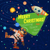 Christmas greeting card: Merry Christmas and New Year. Christmas greeting card: Merry Christmas and amazing space New Year. Monkey astronaut in outer space in Royalty Free Stock Photo