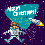Christmas greeting card: Merry Christmas and New Year. Christmas greeting card: Merry Christmas and amazing space New Year. Monkey astronaut in outer space in Royalty Free Stock Image