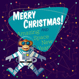 Christmas greeting card: Merry Christmas and New Year. Christmas greeting card: Merry Christmas and amazing space New Year. Monkey astronaut in outer space in Royalty Free Stock Images