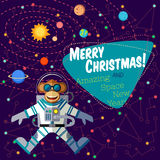 Christmas greeting card: Merry Christmas and New Year. Christmas greeting card: Merry Christmas and amazing space New Year. Monkey astronaut in outer space in Stock Photo