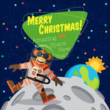 Christmas greeting card: Merry Christmas and New Year. Christmas greeting card: Merry Christmas and amazing space New Year. Monkey astronaut in outer space оn Stock Photography