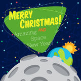 Christmas greeting card: Merry Christmas and New Year. Christmas greeting card: Merry Christmas and amazing space New Year. Monkey astronaut in outer space оn Stock Photos