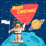 Christmas greeting card: Merry Christmas and New Year. Christmas greeting card: Merry Christmas and amazing space New Year. Monkey astronaut in outer space оn Royalty Free Stock Images