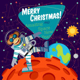 Christmas greeting card: Merry Christmas and New Year. Christmas greeting card: Merry Christmas and amazing space New Year. Monkey astronaut in outer space оn Royalty Free Stock Image