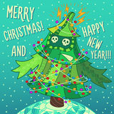 Christmas greeting card: Merry Christmas and New Year. Christmas greeting card: Merry Christmas and Happy New Year. Christmas tree in childish doodles style Stock Photo