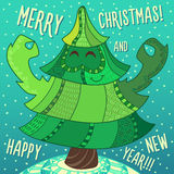 Christmas greeting card: Merry Christmas and New Year. Christmas greeting card: Merry Christmas and Happy New Year. Christmas tree in childish doodles style Stock Images