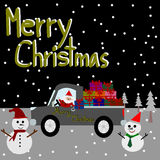 Christmas Greeting Card, Merry Christmas, Santa Claus on the car Royalty Free Stock Photos