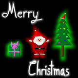 Christmas Greeting Card, Merry Christmas, Santa Claus, Christmas tree and gift, illustration Stock Photos