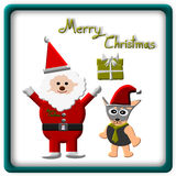 Christmas Greeting Card, Merry Christmas, Santa Claus dog and gift, illustration Royalty Free Stock Photo