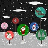 Christmas Greeting Card, Merry Christmas, Santa Claus, snowman and christmas tree Royalty Free Stock Photos