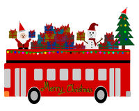 Christmas Greeting Card, Merry Christmas, Santa Claus, snowman and gifts on the bus Stock Photography