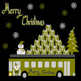 Christmas Greeting Card, Merry Christmas, Santa Claus, snowman and gifts on the bus Royalty Free Stock Photos