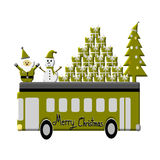 Christmas Greeting Card, Merry Christmas, Santa Claus, snowman and gifts on the bus, illustration Royalty Free Stock Image