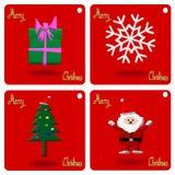 Christmas Greeting Card, Merry Christmas, snowflake, Santa Claus, Christmas tree and gift, illustration Stock Photo