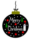 Christmas Greeting Card, Merry Christmas, snowman and christmas tree in Christmas ball Royalty Free Stock Images