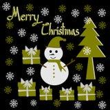 Christmas Greeting Card, Merry Christmas, Snowman Christmas tree and gift box Royalty Free Stock Photography