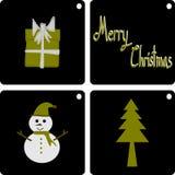 Christmas Greeting Card, Merry Christmas, Snowman Christmas tree and gift box Stock Images