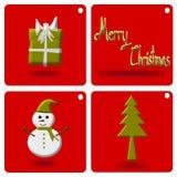 Christmas Greeting Card, Merry Christmas, Snowman, Christmas tree and gift, illustration Royalty Free Stock Photo
