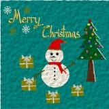 Christmas Greeting Card, Merry Christmas, Snowman, Christmas tree and gift, illustration Royalty Free Stock Image