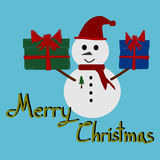 Christmas Greeting Card, Merry Christmas, Snowman and gift box Royalty Free Stock Images